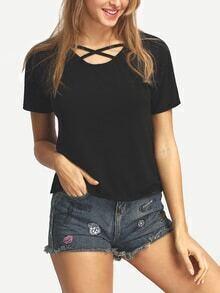 Crisscross Front Neck Black T-shirt