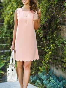 Pink Scallop Trim Sleeveless Shift Dress
