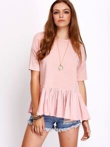 Pink Ruffle Short Sleeve Casual T-shirt