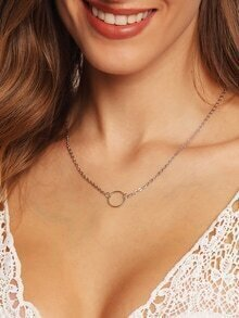 Silver Ring Pendant Chain Link Necklace