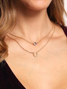 Crystal And Pave Horseshoe Pendant Row Link Necklace