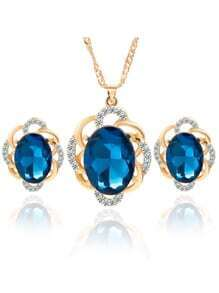 Blue Crystal Rhinestone Jewelry Set