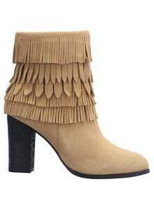 Apricot Fringe High Heeled Boots