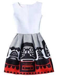 White Sleeveless Print Jacquard A-Line Dress