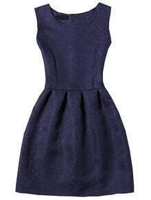 Navy Sleeveless Jacquard A-Line Dress