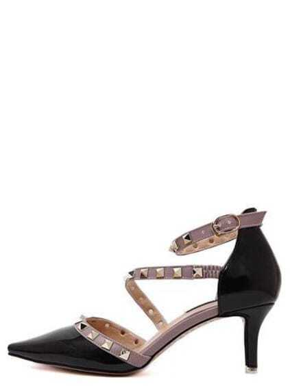 Black Point Out Studded Ankle Strap Heels EmmaCloth-Women Fast ...