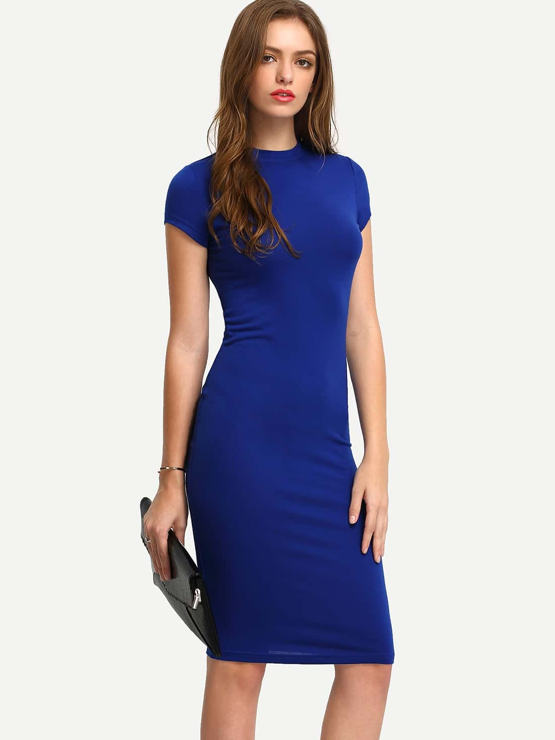 Blue Short Sleeve Knee Length Bodycon Dress EmmaCloth-Women Fast ...
