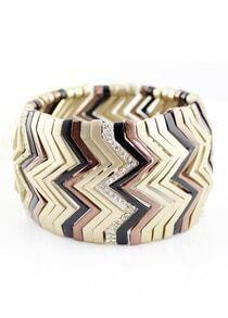 Gold Crystal Zigzag Bracelet