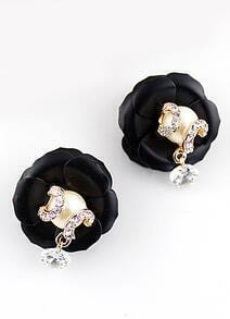 Black Diamond Flower Earrings