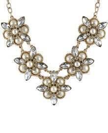 Gold Diamond Bead Flower Necklace