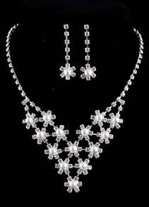 Silver Diamond Pearls Necklace Earrings