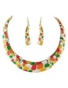 Multicolor Glaze Collar Necklace With Earrings