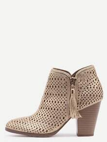 Gold Faux Suede Laser Cut Wood Heel Boots