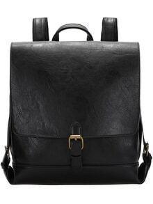 Black Buckle PU Backpacks