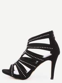Black Faux Suede Caged Studded Peep Toe Pumps