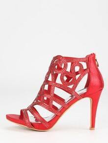 Red Faux Suede Laser-Cut Peep Toe Pumps