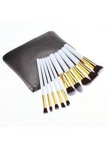 10PCS Make Up Bush Set With Bag - White