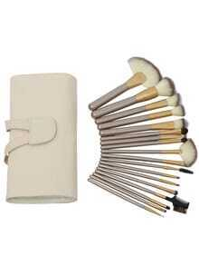 18PCS Make Up Bush Set With Bag - Beige