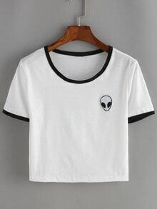 White Contrast Alien Print Crop T-Shirt