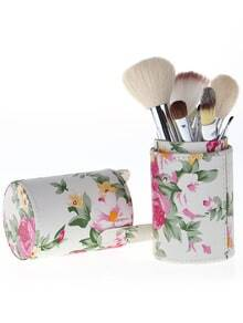 Pink 12pcs Wool Makeup Brush Set With Florals Bucket Cylinder