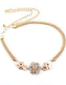 Gold Diamond Flower Chain Belt