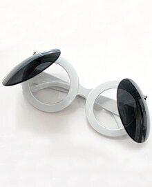 White Round Lenses Double Layer Sunglasses
