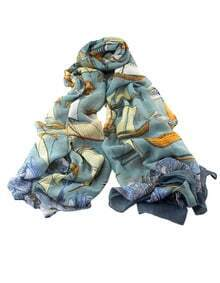 Blue Voile Boat Printed Soft Scarf