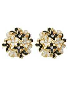 Black Flower Shape Stud Earrings