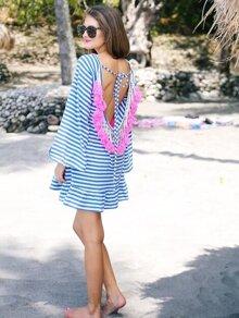 Blue White Striped Backless Tassel Shift Dress