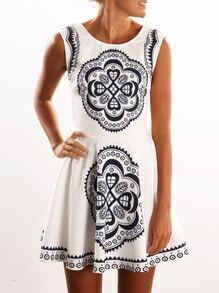 White Criss Cross Backless Vintage Print Skater Dress