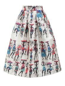 Vintage Print Flare Skirt With Zipper
