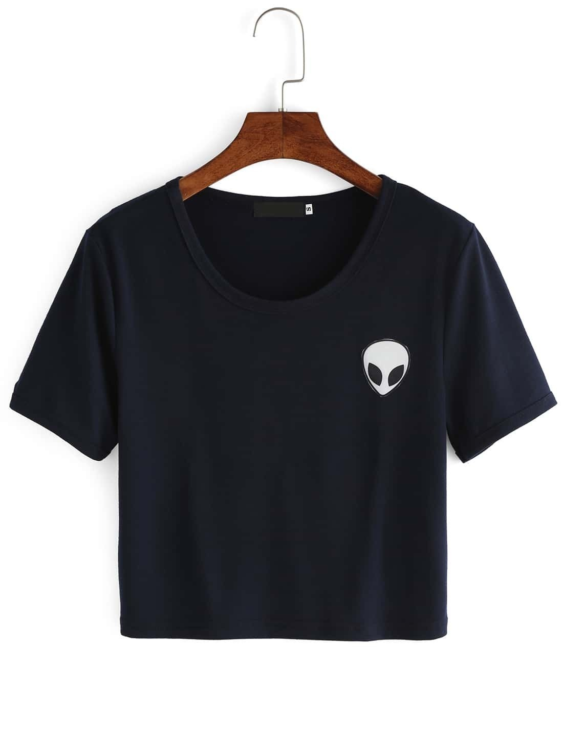 [ ! ] blue crew neck alien print crop t shirt  | Ten Moments That Basically Sum Up Your Blue Crew Neck Alien Print Crop T Shirt Experience