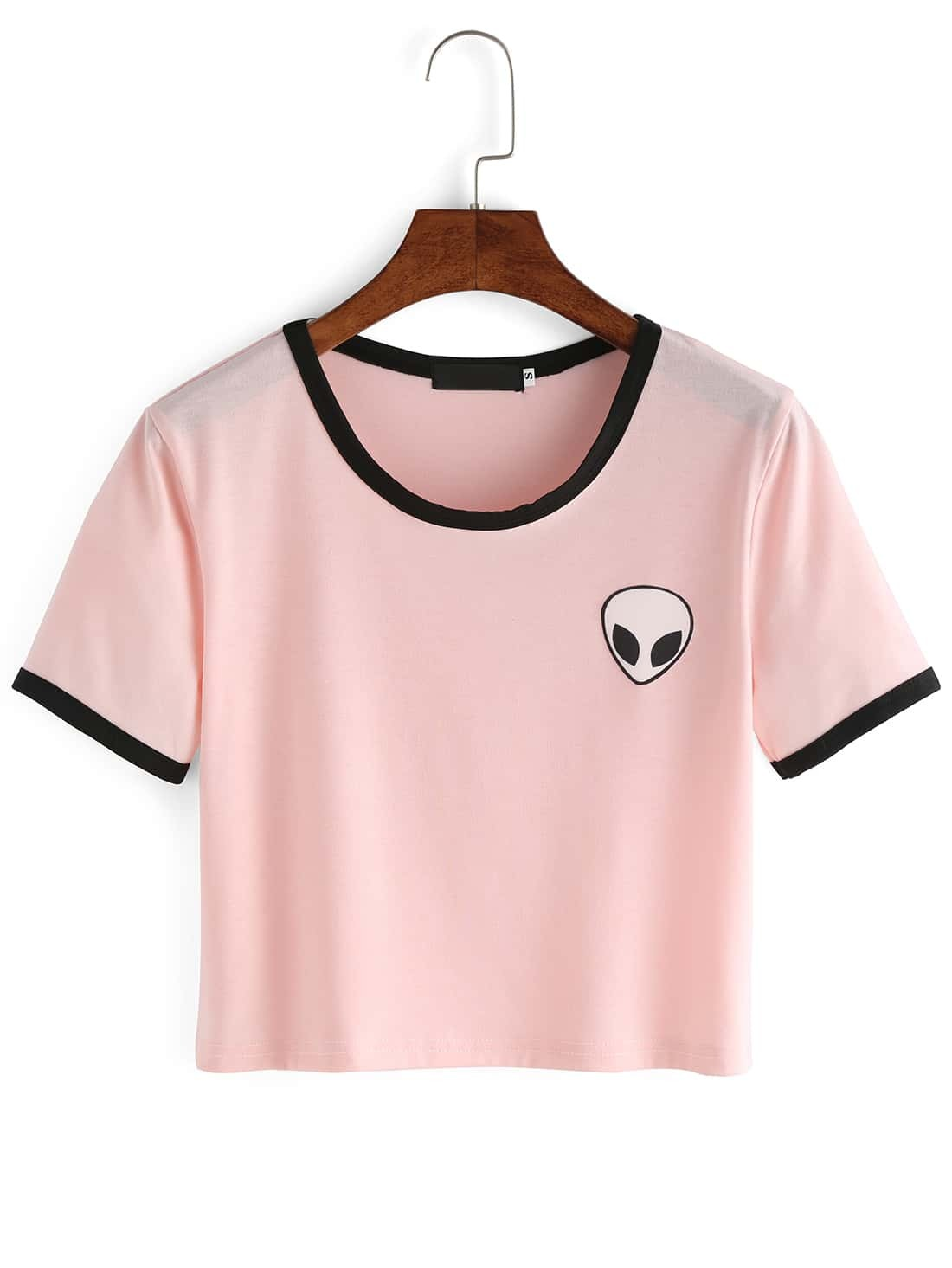 Pink Crew Neck Alien Print Crop T-Shirt EmmaCloth-Women Fast ...