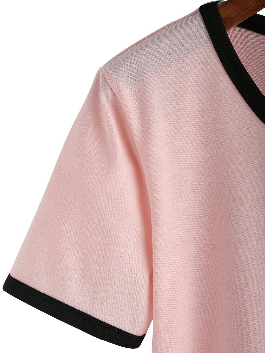 Pink Crew Neck Alien Print Crop T-Shirt EmmaCloth-Women Fast ...