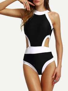 Contrast High Neck Cutout One-Piece Swimwear