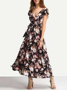 Flower Print Self-Tie Lace-Up Long Dress
