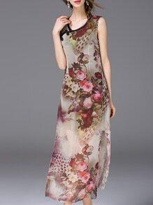 Multicolor Vintage Print Split Cheongsam Dress