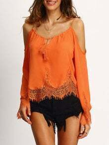 Orange Cold Shoulder Bell Sleeve Lace Trim Blouse