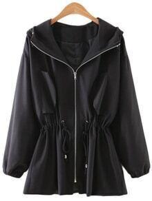 Black Drawstring Zipper Front Sunscreen Hooded Outerwear