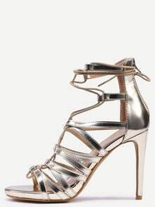 Snake Embossed Lace-Up Heeled Sandals - Gold