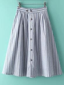 Vertical Striped Single Breasted A-Line Skirt