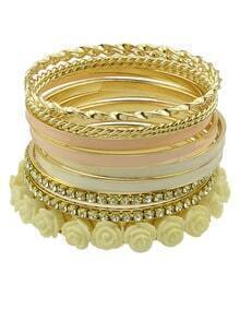 Gold Crystal Flowers Bracelet