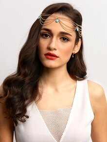 Turquoise Gold Chain Hair Accessories