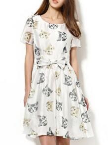 White Bowknot Cats Print Dress