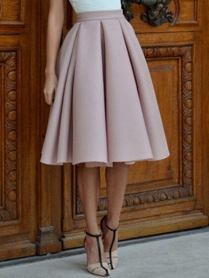 Champagne High Waist Pleated Flare Skirt EmmaCloth-Women Fast ...