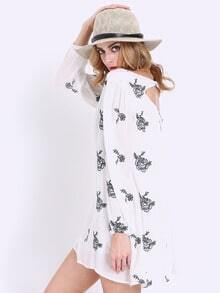 White Broderie Long Sleeve Floral Embroidery Dress