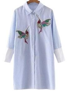 Blue Buttons Front Bird Embroidery Stripe Blouse