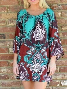 Off-The-Shoulder Bell Sleeve Printed Dress