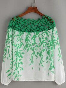 Boat Neck Lace Insert Print Chiffon Shirt