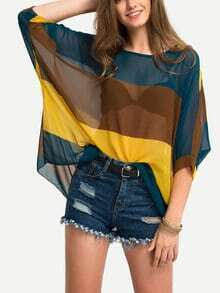 Color Block Semi-Sheer Poncho Blouse - Yellow